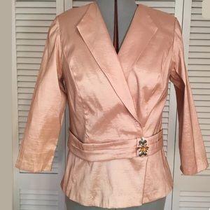 ALEX EVENINGS Dress Suit Large Pink Apricot Jacket